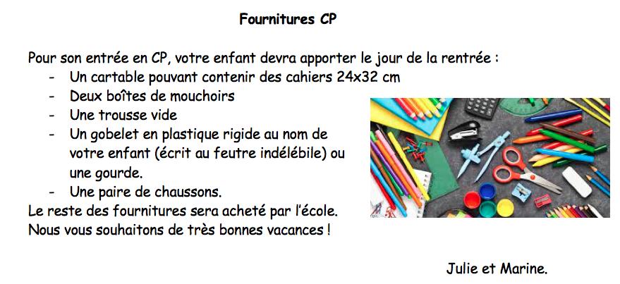 Fournitures CP