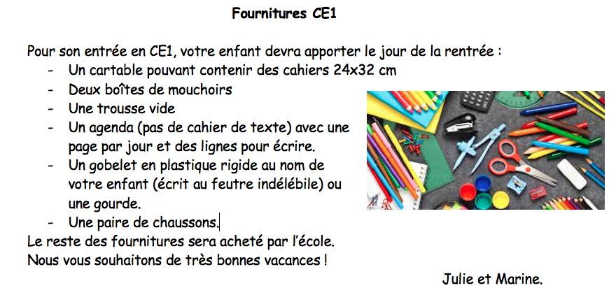Fournitures CE1